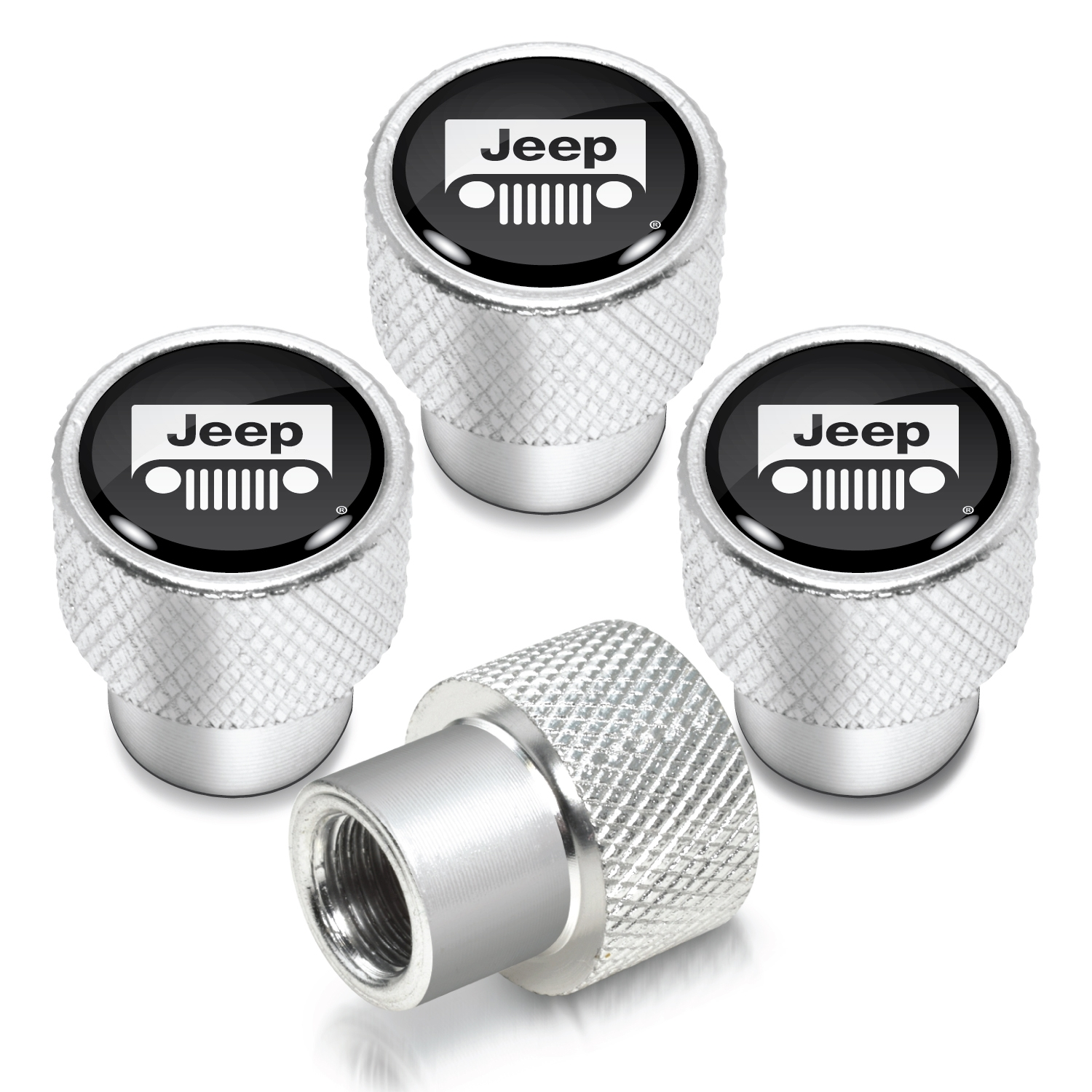 Jeep Grill in Black on Shining Silver Aluminum Tire Valve Stem Caps