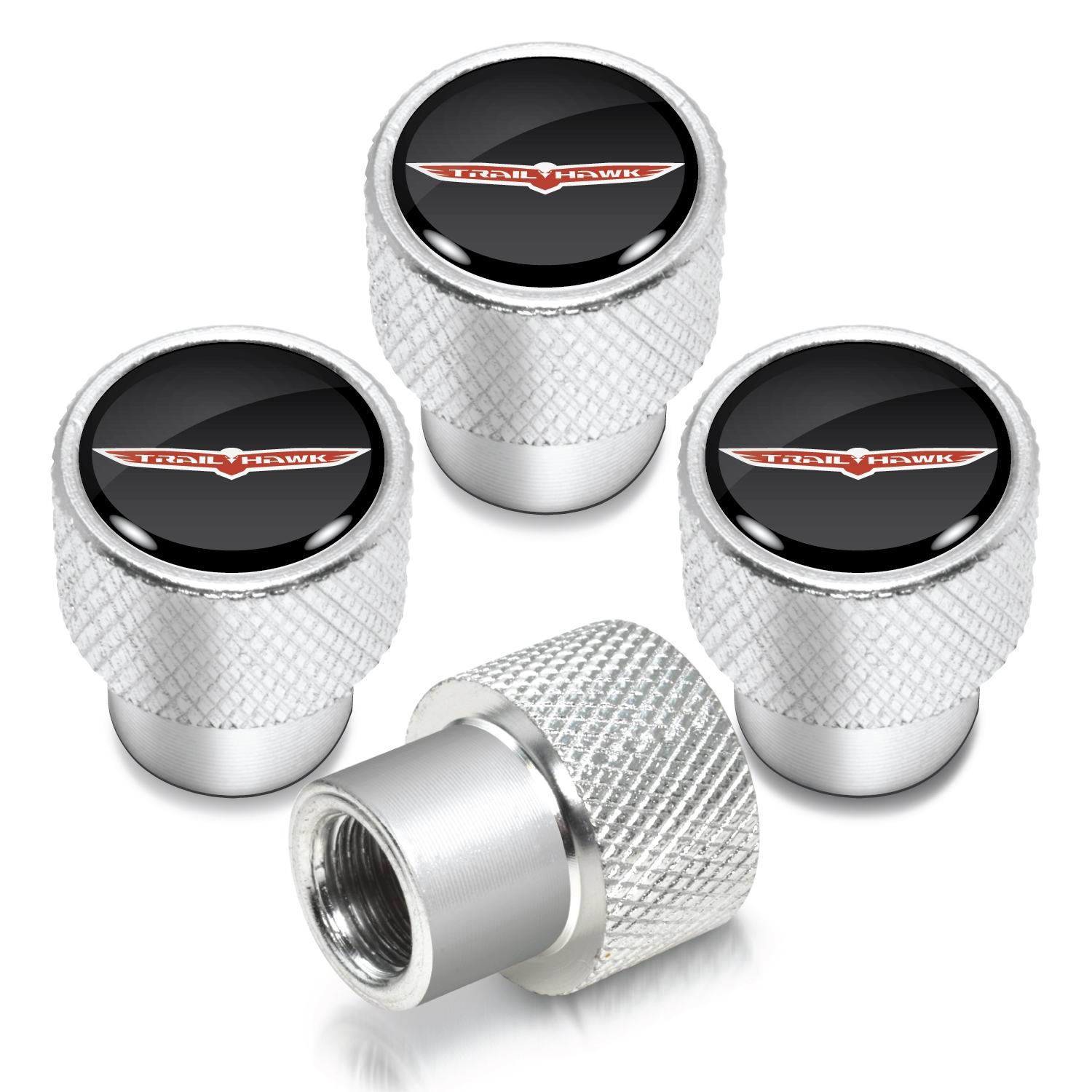 Jeep Trailhawk in Black on Shining Silver Aluminum Tire Valve Stem Caps