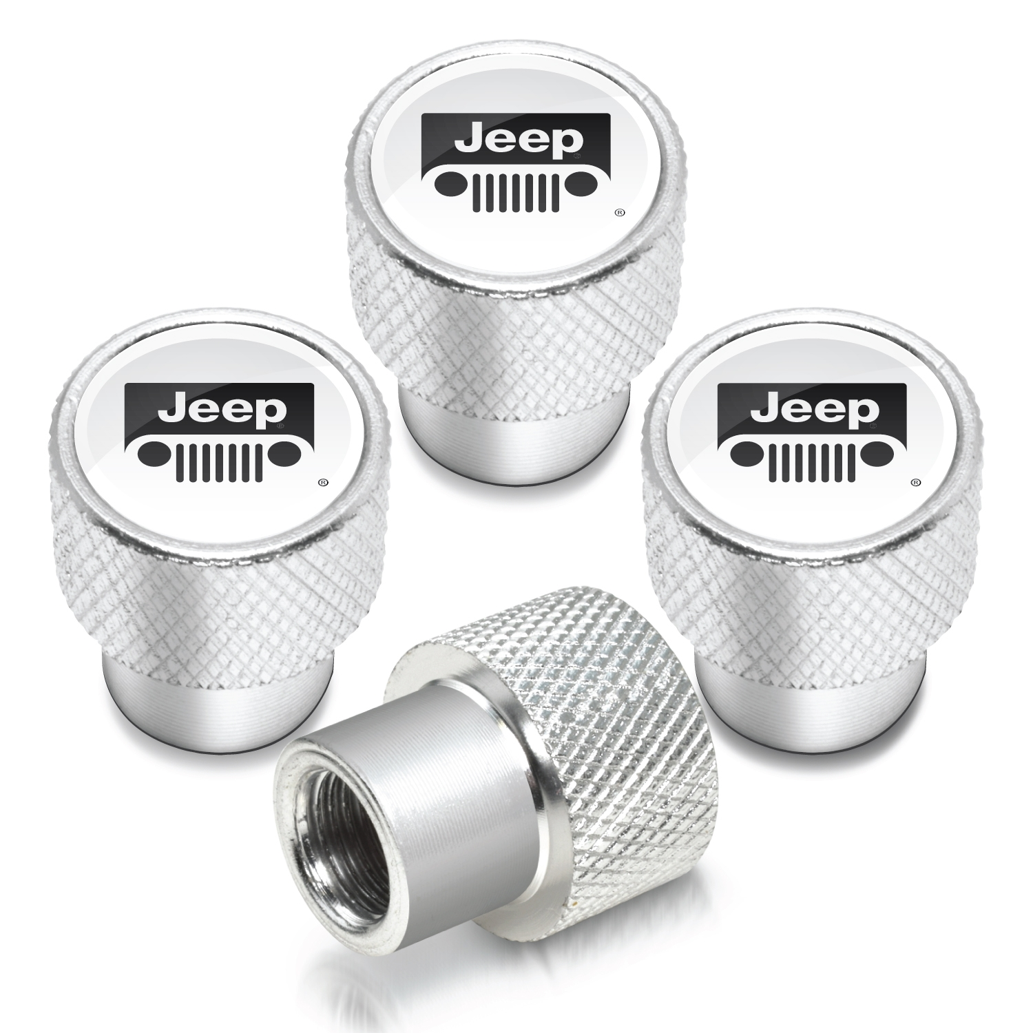 Jeep Grill in White on Shining Silver Aluminum Tire Valve Stem Caps