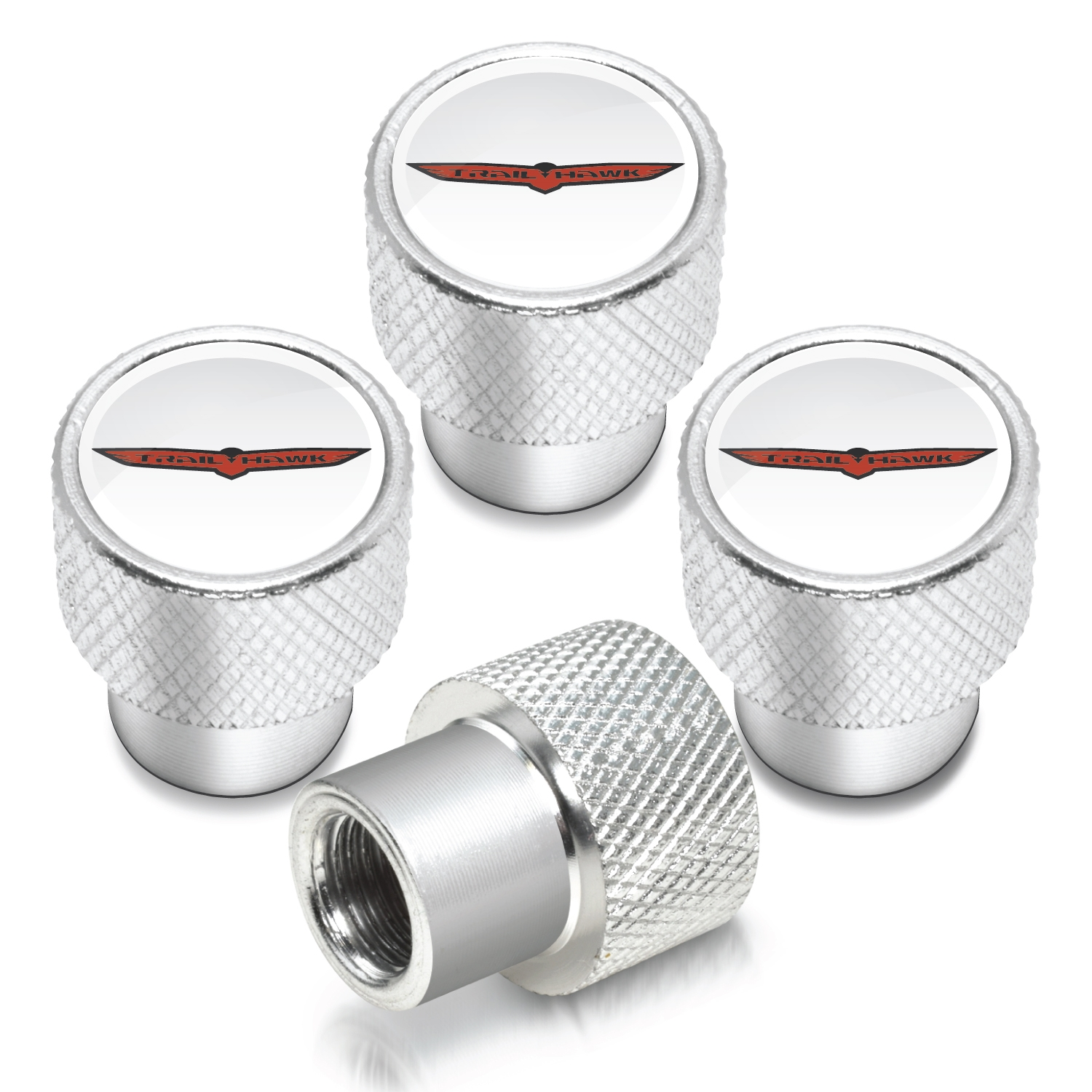 Jeep Trailhawk in White on Shining Silver Aluminum Tire Valve Stem Caps