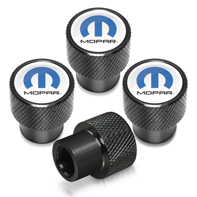 Mopar in White on Black Aluminum Tire Valve Stem Caps
