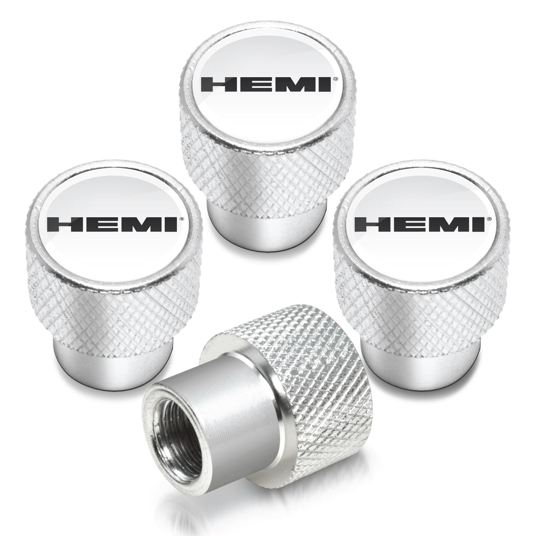 HEMI Logo in White on Shining Silver Aluminum Tire Valve Stem Caps