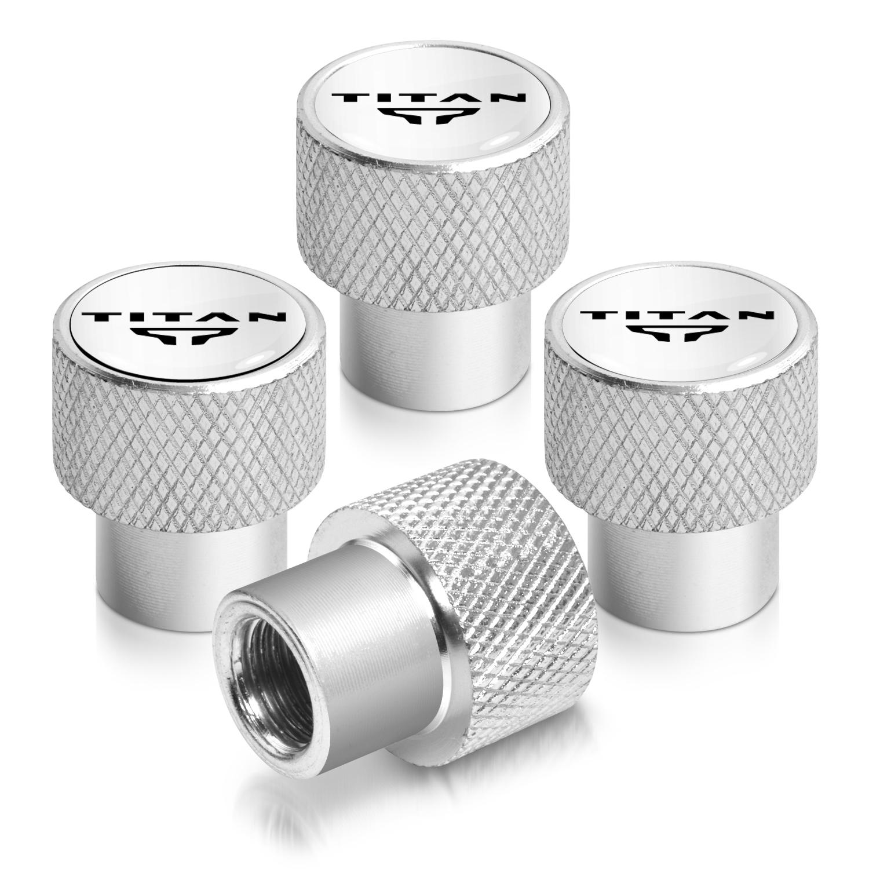 Nissan Titan Logo in White on Shining Silver Aluminum Tire Valve Stem Caps