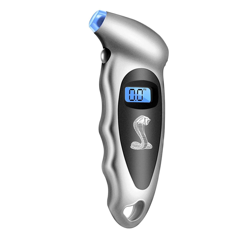Ford Cobra Silver Black Digital Tire Pressure Gauge with LED-Backlit LCD Display