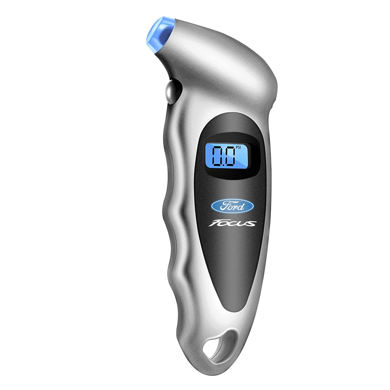 Ford Focus Silver Black Digital Tire Pressure Gauge with LED-Backlit LCD Display
