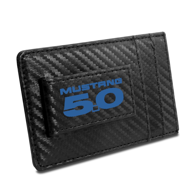 Ford Mustang 5.0 in Blue Black Carbon Fiber RFID Card Holder Wallet