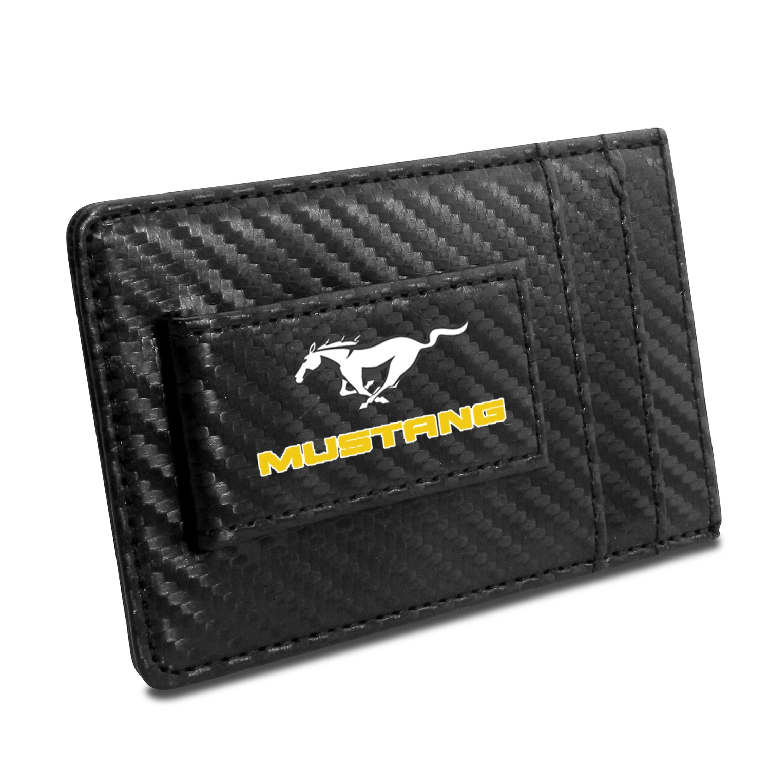 Ford Mustang in Yellow Black Carbon Fiber RFID Card Holder Wallet