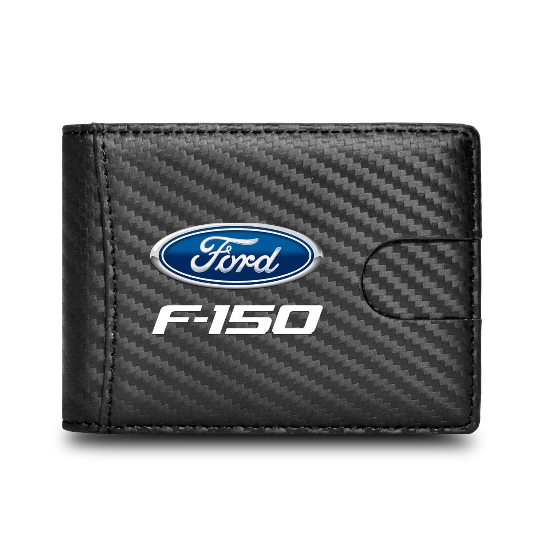 Ford F-150 Black Slim Real Leather Carbon Fiber Patterns RFID Blocking Bi-fold Wallet