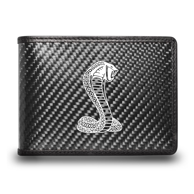 Ford Mustang Cobra Black Real Carbon Fiber Leather RFID Blocking Bi-fold Wallet