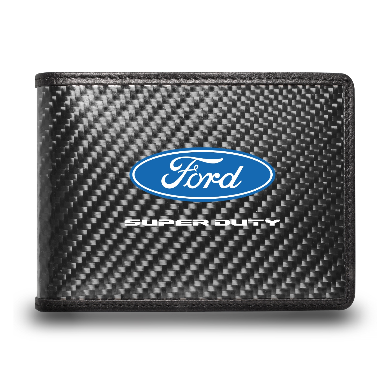 Ford Super-Duty Black Real Carbon Fiber Leather RFID Blocking Bi-fold Wallet
