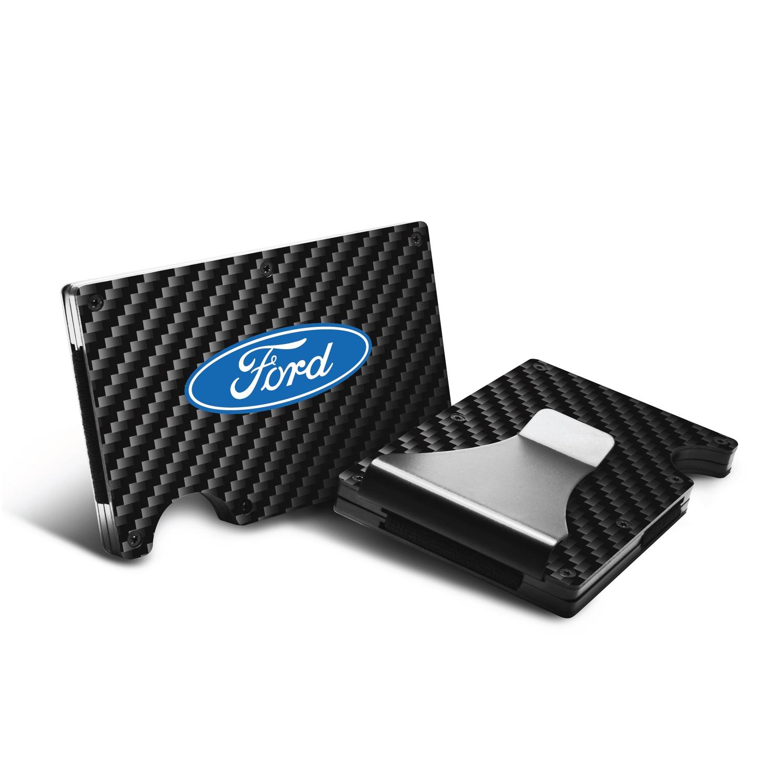 Ford Logo RFID Blocking Black Real Carbon Fiber Slim Credit Card Wallet with Metal Money Clip