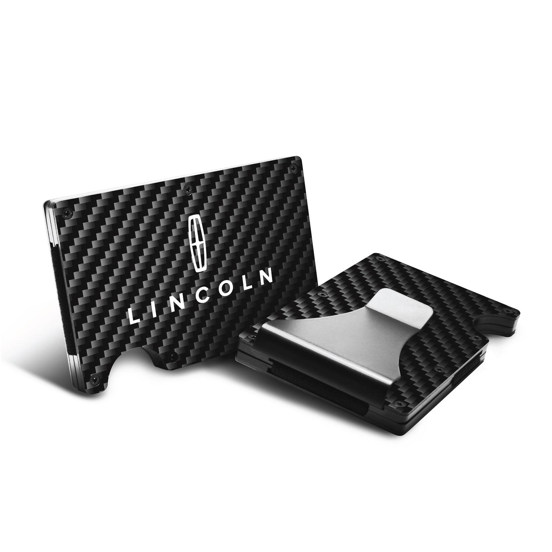 Lincoln RFID Blocking Black Real Carbon Fiber Slim Credit Card Wallet with Metal Money Clip