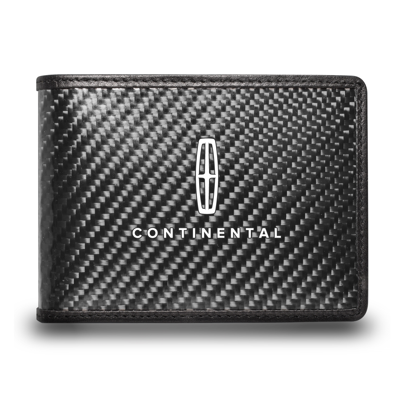 Lincoln Continental Black Real Carbon Fiber Leather RFID Blocking Bi-fold Wallet