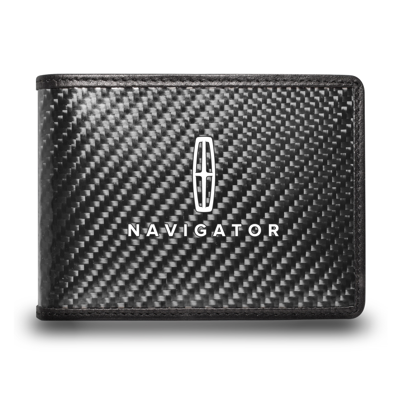 Lincoln Navigator Black Real Carbon Fiber Leather RFID Blocking Bi-fold Wallet
