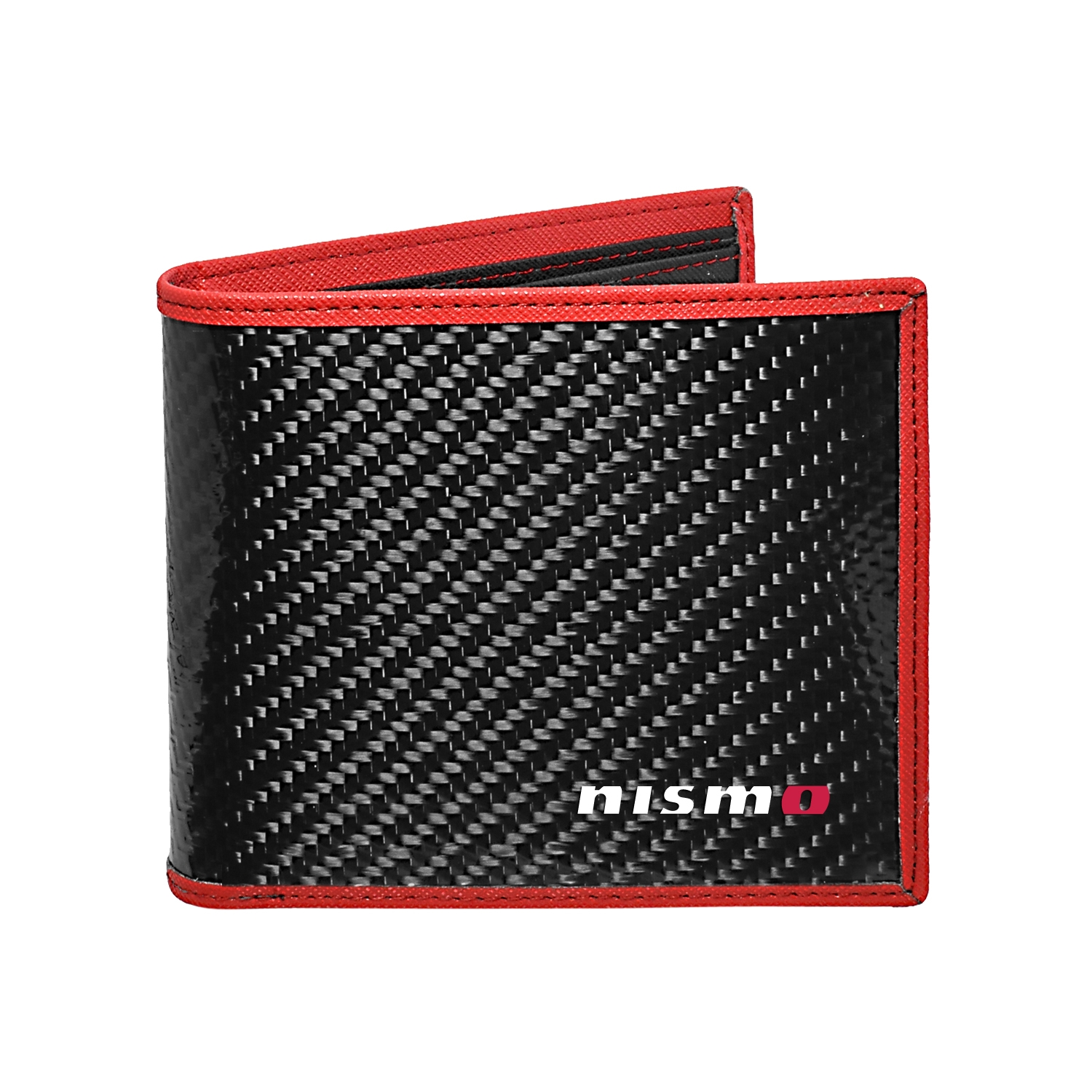Nissan NISMO Real Premium Black Carbon Fiber Wallet with Red Stitched Edge