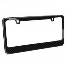 Real Carbon Fiber UV Resistant Glossy Finish 2 Holes Black License Plate Frame