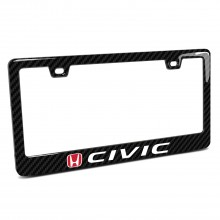Honda in Red Civic Black Real 3K Carbon Fiber Finish ABS Plastic License Plate Frame