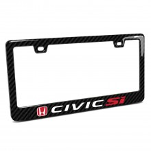 Honda Red Logo Civic Si Black Real 3K Carbon Fiber Finish ABS Plastic License Plate Frame