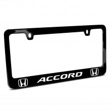 Honda Accord Dual Logo Black Metal License Plate Frame