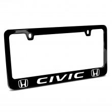 Honda Civic Dual Logo Black Metal License Plate Frame