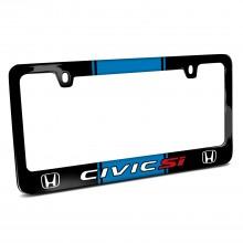 Honda Civic Si Blue Racing Stripe Black Metal License Plate Frame