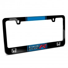 Honda Civic Type R Blue Racing Stripe Black Metal License Plate Frame