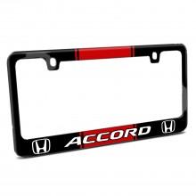 Honda Accord Red Racing Stripe Black Metal License Plate Frame