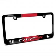 Honda Civic Si Red Racing Stripe Black Metal License Plate Frame