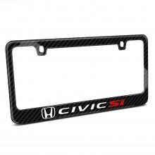 Honda Civic Si Black Real Carbon Fiber License Plate Frame