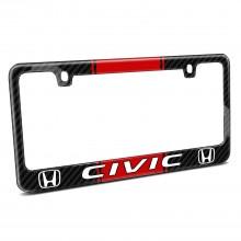 Honda Civic Red Racing Stripe Black Real Carbon Fiber License Plate Frame
