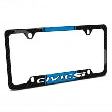 Honda Civic Si Blue Racing Stripe Black Real Carbon Fiber 50 States License Plate Frame