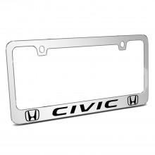 Honda Civic Dual Logo Mirror Chrome Metal License Plate Frame