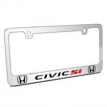 Honda Civic Si Dual Logo Mirror Chrome Metal License Plate Frame