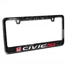 Honda Red Logo Civic Si Real Black Forged Carbon Fiber License Plate Frame