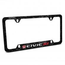 Honda Red Logo  Civic Si Real Black Forged Carbon Fiber 50 States License Plate Frame