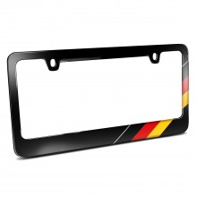 German Flag Off-center Sports Stripe Black Metal License Plate Frame