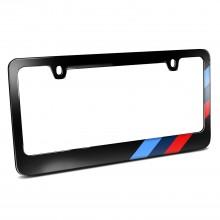 Off-center Sports M Stripe Black Metal License Plate Frame for BMW