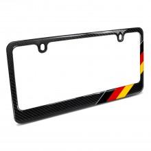 Real Black Carbon Fiber German Flag Off-center in Sports Stripe License Plate Frame
