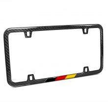 Slim Real Black Carbon Fiber German Flag in Sports Stripe License Plate Frame