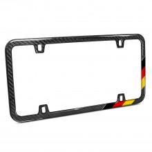 Slim Real Black Carbon Fiber German Flag Off-center in Sports Stripe License Plate Frame